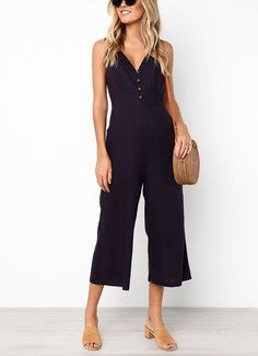 b0a8ae27b6 Casual Loose Slim V Collar Button Pure Color Wide Leg Jumpsuit
