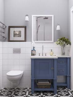 Fürdőszoba - szürke falszín, fehér csempe, fehér és kék bútor, épített zuhanyfülke