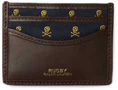 """Rugby, Ralph Lauren, Business Card Case... calfskin case w/silk lining gold skulls gives preppy """"go-to-hell"""" vibe."""