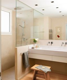 bathroom ideas remodel is agreed important for your home. Whether you choose the small bathroom storage ideas or serene bathroom, you will make the best serene bathroom for your own life. Serene Bathroom, Laundry Room Bathroom, Small Bathroom Storage, Bathroom Ideas, Ideas Baños, Cheap Houses, Hallway Decorating, House Rooms, Amazing Bathrooms