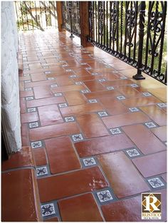 Super Saltillo tile with Talavera decorative tiles as inserts on a patio. I love this for an outdoor patio or courtyard.or for patio and front porch! Porch Tile, Patio Tiles, Outdoor Tiles, Outdoor Flooring, Outdoor Walkway, Spanish Style Homes, Spanish House, Spanish Patio, Spanish Tile