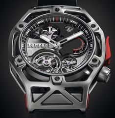 Hublot Techframe Ferrari Tourbillon Chronograph Watch Celebrating Ferrari's Anniversary Best Watches For Men, Big Watches, Luxury Watches, Cool Watches, Ferrari Watch, Men's Accessories, Hublot Watches, Skeleton Watches, Expensive Watches