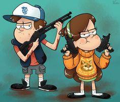 Badass Mabel and Dipper. Gravity Falls