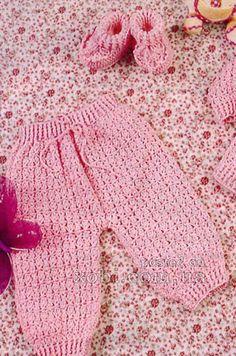 розовые штанишки и пинетки для девочки вязаные крючком (3-6 мес.)
