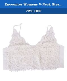 Encounter Womens V-Neck Strap Lace Bustier Crop Top Cami Bra. Fashion crop top for women.
