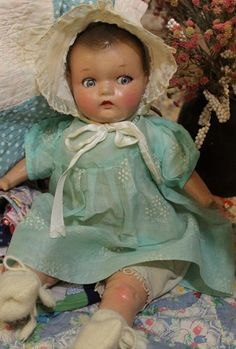 "Sweet 16"" Flirty eyes,Old, Antique, Vintage, Composition Cloth Baby Doll Victorian Dolls, Vintage Dolls, New Dolls, Dolls Dolls, Baby Dolls, Pretty Dolls, Beautiful Dolls, Bear Doll, Child Doll"