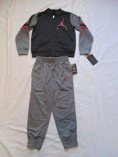 5011f1031 Nike Air Jordan Boys Tracksuit 2 Piece Set Color Grey 854896-k26 Size 4 and