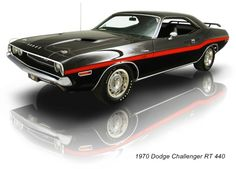 1970 Dodge Challenger RT 440. Not a lot of color combos better than red on black!