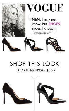 """Carrie Bradshaw Shoe Aficionado"" by thecharmingmagnolia-etsy ❤ liked on Polyvore featuring Jimmy Choo, Christian Louboutin, Manolo Blahnik, fashionpassion, thecharmingmagnolia, FriendsRUs and FRU"