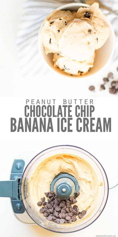 frozen banana recipes Homemade peanut butter chocolate chip banana ice cream recipe uses just one ingredient and a Vitamix or Cuisinart, no ice cream maker! (several flavors) Banana Ice Cream Healthy, Chocolate Banana Ice Cream, Banana Nice Cream, Peanut Butter Ice Cream, Homemade Peanut Butter, Homemade Ice, Frozen Banana Recipes, Ripe Banana Recipes Healthy, Meals