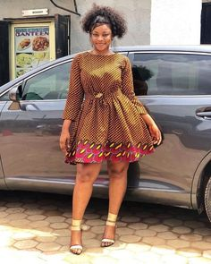 Most stylish collection of ankara short gown styles of 2019 trending today, try these short ankara gown styles Latest Ankara Short Gown, Ankara Short Gown Styles, Trendy Ankara Styles, Ankara Gowns, Short Gowns, Ankara Dress, Dress Skirt, Ankara Blouse, African Wear