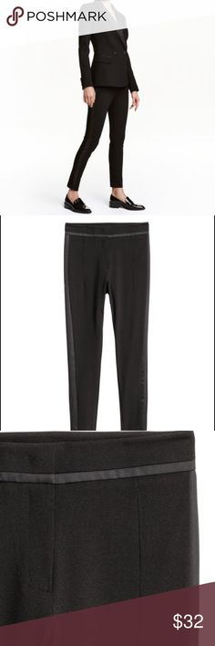 Satin stripe cigarette high waist pants NWOT Suit pants in woven stretch fabric with satin details and side stripes. High waist, hook-and-eye fastener at front, welt back pockets, and slim legs with concealed zip at hems. 52% rayon, 42% nylon, 6% spandex. Machine wash warm H&M Pants Trousers
