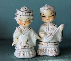 Vintage Japanese Couple White and Gold Salt and Pepper Shakers