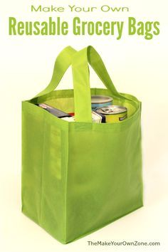 How To Make A Reusable Grocery Bag - The Make Your Own Zone - - Easy sew pattern for homemade reusable grocery tote bags. Reduce waste with these bags made using Oly-Fun fabric - a sturdy copycat of store bought bags! Bag Pattern Free, Bag Patterns To Sew, Sew Pattern, Tote Pattern, Wallet Pattern, Sewing Projects For Beginners, Sewing Tutorials, Sewing Tips, Sewing Hacks