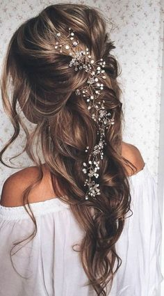 Marilyn, extra long pearl and crystal beads bridal hair vine, wedding headpiece, bridal hair accessories, headband hair jewelry – diy hairstyles shorthair Wedding Hair Down, Wedding Hairstyles For Long Hair, Loose Hairstyles, Wedding Hair And Makeup, Headband Hairstyles, Hairstyle Ideas, Beautiful Hairstyles, Hair Ideas, Hairstyle Wedding