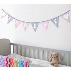 Personalised Children's Bunting: Girls Pinks And Greys