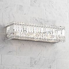 Possini Euro Crystal Columns Wide Chrome Bath Light is a quality Bathroom Lighting for your home decor ideas. Crystal Bathroom Lighting, Bathroom Light Fixtures, Vanity Lighting, Home Lighting, Lighting Ideas, Crystal Lamps, Crystal Lights, Basement Lighting, Kitchen Fixtures