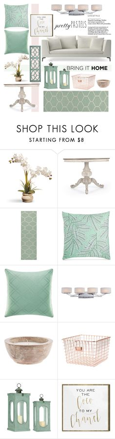 """Pastel Home Decor"" by colierollers ❤ liked on Polyvore featuring interior, interiors, interior design, home, home decor, interior decorating, National Tree Company, Jaipur, Charter Club and Tommy Bahama"