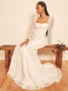 How classic. Shop the Annika Dress from Reformation, a lace wedding gown with long sleeves. Dress Out, Lace Dress, Bridal Gowns, Wedding Gowns, Lace Wedding, Wedding Attire, Rustic Wedding, Wedding Dresses For Sale, Long Sleeve Wedding