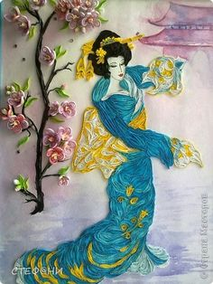 Beautiful Japanese Lady Quilling project. Lots of close-ups on site - these bring out the details & intricacies of the entire project !