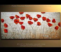 """Poppies Painting Original Contemporary Textured  Floral  on canvas by Paula 48"""" ready to hang Enormous IIIIIIIIIIIIII"""