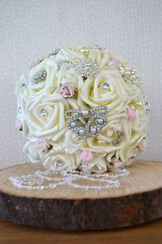 Wedding Bridal Bouquet.Ivory & Blush Pink by FleurDeBeese on Etsy