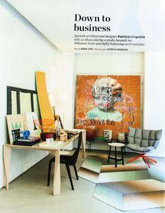 Architect/Designer Patricia Urquiola's Milanese Home  Diamond table for Molteni&C the 'Husk' lounge chair for B&B Italia the 'Logenze' rug for Ruckstuhl 'Arazzo' artwork on wall