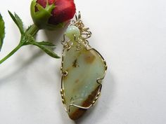 "Peruvian Opal pendant, 1 x 1 1/2"", wire wrapped, 14kgf,  rare stone, natural, dendrites, polished back (w10462)x"