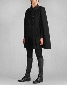 Liv Tyler Marley Cape - Black Wool Women