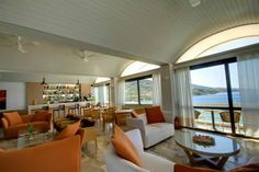 Hotel Perrakis welcomes you in Andros, on a perfect location near two beautiful beaches, on Kypri Bay. Get to know a unique Cycladic island. Lobby Bar, Blue Bar, Greece Islands, Bar Lounge, Beautiful Beaches, Windows, Interior, Indoor, Interiors