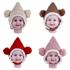 $2.98 Baby Toddler Kids Wool Knitted Double Balls Earflap Hat