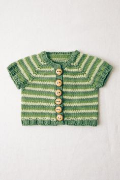 striped short sleeve cardigan by susan b. anderson / from the book kindred knits: knitting for little ones near and far / in quince & co. lark, colors snap pea, leek, parsley