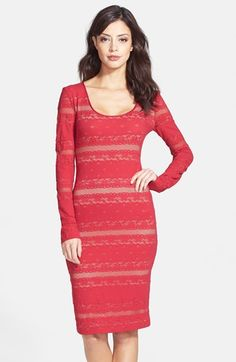 Free shipping and returns on BCBGMAXAZRIA 'Tanya' Long Sleeve Lace Body-Con Dress at Nordstrom.com. Lovely striped lace is fashioned into a scoop-neck long-sleeve dress that tastefully shows off your curves. $198