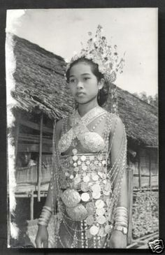 Dayak Girl photo Costume Jewels Borneo Malaysia 50s