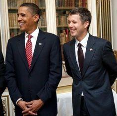 President Barack Obama and Crown Prince Frederik of Denmark Barack Obama, Michelle Obama Photos, Prince Frederik Of Denmark, Mr President, Princess Mary, World Leaders, Presidents, Royals, Lady