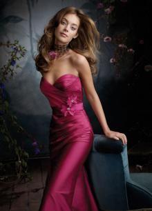 Raspberry Sweetheart Taffeta Trumpet Long Bridesmaid Dress