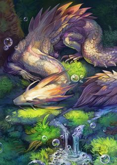 "endivinity: "" Pretty Tamamitsune napping in a forest, surriounded by lil soapy bubbles! """