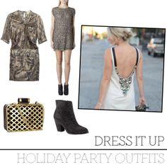 Holiday Outfits  Dispel Dress, $348 CAD, All Saints. Silk Dress, $129 CAD, Isabel Marant Pour H&M. Clutch Bag, $29.95 CAD, H&M. Friorel Bootie, $140 CAD, ALDO.
