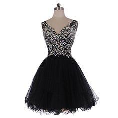 fced5ec5e65 Amazon.com  Mic Dresses A-line Short V-neck Straps Tulle Crystal Prom  Dresses (US 8