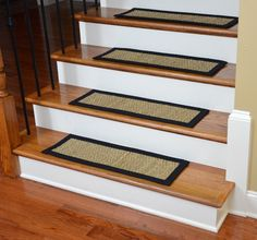 Dean Flooring Company's exclusive Non-Slip Seagrass Beige Natural Fiber Carpet Stair Treads will brighten any staircase.