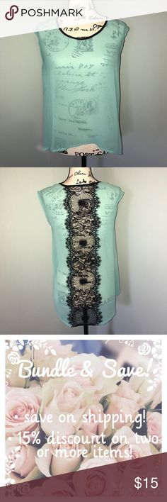 Mint Hi-Lo Top with Lace Detail in Back Gorgeous, mint green hi-lo sleeveless top with lace detail down the back. Sheer material. Bought from a boutique. Comes from a smoke free home. Tops Blouses