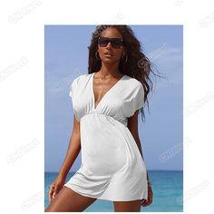 Women Lady Hot Sexy Beach Wear Swimwear Nylon Bikini Cover Up Deep-V Shirt Dress Bikini Cover Up, Swimsuit Cover, Swim Cover, Buy Swimsuit, Sheer Swimsuit, White Dress Summer, Summer Dresses, Beach Dresses, Sun Dresses
