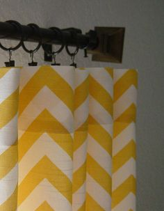 Pair of Corn Yellow and White Curtains