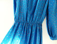 Bright Cobalt Blue Vintage Pleated Dress / Shimmery Fleur De Lis Day Dress / 70s Pleated Blue Dress by thehappyforest on Etsy