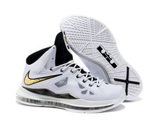 Authentic White Black Gold Nike Lebron X 10 Factory Outlet 2aaf72a42