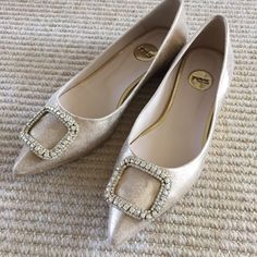Dauphine Shimmered Skimmers by Ras Made in Spain. Leather upper and glass jeweled buckle detail. Rubber soles. True To size, never worn Anthropologie Shoes Flats & Loafers