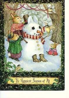 Rabbit Are Wearing The Snowman - Little Birds Are Decorating Rabbit Snowman - Susan Wheeler - Animals Vintage Greeting Cards, Vintage Christmas Cards, Christmas Greeting Cards, Christmas Pictures, Christmas Greetings, Susan Wheeler, Beatrix Potter, Merry Little Christmas, Christmas Snowman
