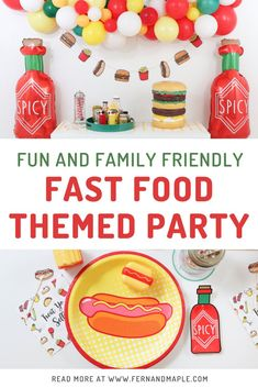 Throw a family friendly Fun Fast Food Party for your kids with balloon backdrop, condiment station, and tasty table settings! Get all fo the details now at fernandmaple.com. Unique Party Themes, Adult Party Themes, Theme Parties, Kids Birthday Party Invitations, Birthday Party Themes, Party Food For Adults, Balloon Backdrop, Party Activities, Food Themes