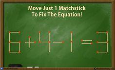 Onderwijs en zo voort ........: 3477. Starters met lucifers : 6+4-1=3 Nog meer: google 'matchstick riddle'