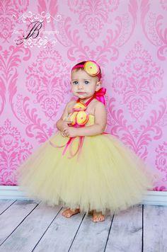 Süße gelbe Blume Mädchen Tutu Kleid